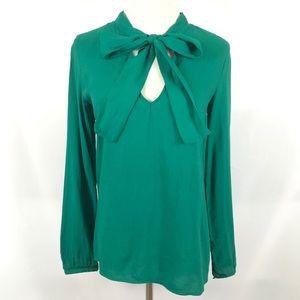 ZARA Green Bow Long Sleeve Hi-Lo Blouse Top